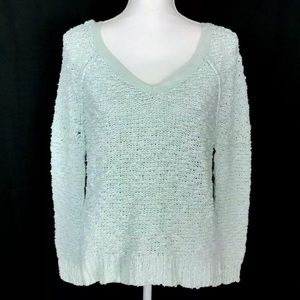 Free people Green Textured Knit Sweater V-neck XS